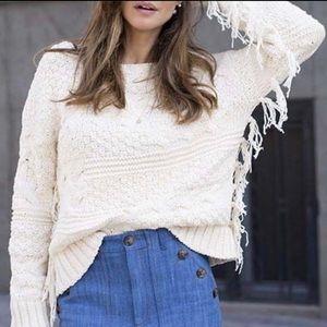 Zara Knit Fancy Knit Fringe Sweater in Cream